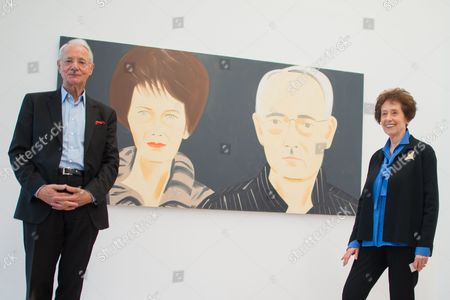 Essl Museum's Owner Agnes Essl (r) and Karlheinz Essl (l) Pose For Photographs in Front of the Painting 'Agnes and Karlheinz Essl' by Us Artist Alex Katz During the Press Preview of the Exhibition 'Rendevouz' in Klosterneuburg Austria 17 February 2016 the Essl Museum Bulit 1999 Shows the Modern Art Collection of Austrian Entrepeneur and Collector Karheinz Essl the Exhibition Runs From 19 February 2015 Until 22 January 2017 and Shows Masterpieces of the Essl Collection Austria Klosterneuburg
