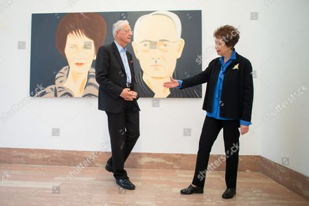 Essl Museum's Owner Agnes Essl (r) and Karlheinz Essl (l) Stand in Front of the Painting 'Agnes and Karlheinz Essl' by Us Artist Alex Katz During the Press Preview of the Exhibition 'Rendevouz' in Klosterneuburg Austria 17 February 2016 the Essl Museum Bulit 1999 Shows the Modern Art Collection of Austrian Entrepeneur and Collector Karheinz Essl the Exhibition Runs From 19 February 2015 Until 22 January 2017 and Shows Masterpieces of the Essl Collection Austria Klosterneuburg