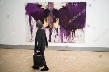 A Visitor Looks at the Painting 'Kreuywegstation' by Austrian Artist Hermann Nitsch During the Press Preview of the Exhibition 'Rendevouz' in Klosterneuburg Austria 17 February 2016 the Essl Museum Bulit 1999 Shows the Modern Art Collection of Austrian Entrepeneur Karheinz Essl the Exhibition Runs From 19 February 2015 Until 22 January 2017 and Shows Masterpieces of Essl Collection Austria Klosterneuburg