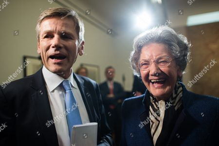 Austrian Federal Minister For Arts and Culture Constitution and Public Service Josef Ostermayer (l) and Elisabeth Leopold Widow of Late Art Collector Rudolf Leopold (r) Pose Next to Nazi-looted Drawings by Austrian Artist Egon Schiele (1890-1918) During a Press Conference at the Leopold Museum in Vienna Austria 07 April 2016 the Museum and the Jewish Community Vienna Achieved an Agreement to Return the Two Drawings 'Sitzender Bub Mit Gefalteten Haenden' (lit: Sitting Boy with Folded Hands) From 1910 and 'Selbstdarstellung Mit Gestreiften Aermelschonern' (lit: Self Portrait with Striped Sleeves Protectors) From 1915 to the Heiress of Late Austrian Art Collector Karl Maylaender Three Other Drawings of the Collection of Maylaender Remain at the Leopold Museum Austria Vienna