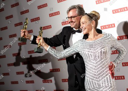 Head of Austrian State Broadcaster Orf Alexander Wrabetz (l) and Television Director Kathrin Zechner Present Their Romy Award During the Romy Gala in Vienna Austria 16 April 2016 Austria Vienna