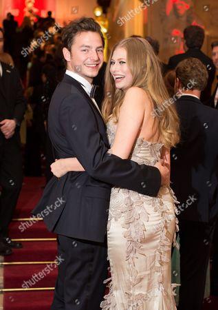 Austrian Singer Zoe Straub (r) and Her Boyfriend Kaspar Leuhusen Arrive on the Red Carpet Ahead of the Romy Gala in Vienna Austria 16 April 2016 Austria Vienna