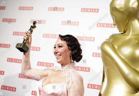 Austrian Actress Ursula Strauss Presents Her Romy Award For Most Popular Actress in a Movie During the Romy Gala in Vienna Austria 16 April 2016 Austria Vienna