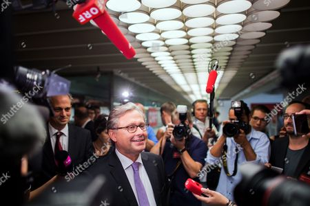 Alexander Wrabetz (c) Director General of the National Public Service Austrian Broadcasting Corporation (oesterreichischer Rundfunk Or Orf) Talks to Journalists Prior to the Election of the Orf's New Director General in Vienna Austria 09 August 2016 Office-bearer Wrabetz and the Orf's Commercial Director Richard Grasl Are Both Running For the Post Austria Vienna