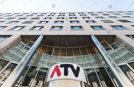 The Logo of Austrian Commercial Television Station Atv Dominates the Entrance of Its Office Building in Vienna Austria 31 August 2016 According to Austrian and German Media Austrian Shareholder of Atv and Owner of the German Media Company Tele Muenchen Gruppe (tmg) Herbert Kloiber Plans to Sell Atv in 2017 Due to Financial Losses in Recent Years Austria Vienna