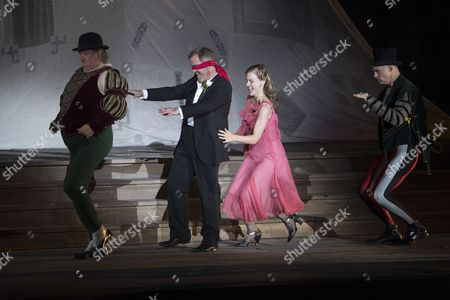 Austrian Actor Cornelius Obonya (2-l) As 'Jedermann' and Austrian Actress Miriam Fussenegger (3-l) As 'Buhlschaft' Perform During the Rehearsal of Hugo Von Hofmannsthal's 'Jedermann' (everyman) at the Domplatz Square in Salzburg Austria 20 July 2016 the Salzburg Festival Runs From 22 July to 31 August 2016 Austria Salzburg