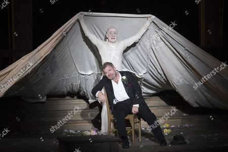 Actors Peter Lohmeyer (back) As 'Tod' and Cornelius Obonya (front) As Jedermann Perform During the Rehearsal of Hugo Von Hofmannsthal's 'Jedermann' (everyman) at the Domplatz Square in Salzburg Austria 20 July 2016 the Salzburg Festival Runs From 22 July to 31 August 2016 Austria Salzburg