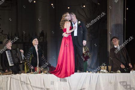 Austrian Actress Miriam Fussenegger (l) As 'Buhlschaft' and Cornelius Obonya (r) As Jedermann Perform During the Rehearsal of Hugo Von Hofmannsthal's 'Jedermann' (everyman) at the Domplatz Square in Salzburg Austria 20 July 2016 the Salzburg Festival Runs From 22 July to 31 August 2016 Austria Salzburg