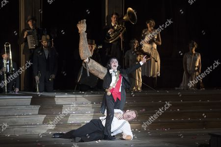Austrian Actor Cornelius Obonya (down) As 'Jedermann' and Suisse Actor David Bennent (r) As 'Mammon' Perform During the Rehearsal of Hugo Von Hofmannsthal's 'Jedermann' (everyman) at the Domplatz Square in Salzburg Austria 20 July 2016 the Salzburg Festival Runs From 22 July to 31 August 2016 Austria Salzburg