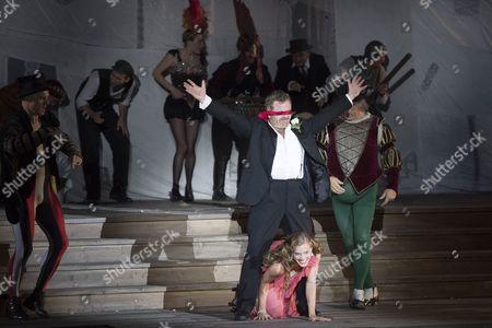 Austrian Actor Cornelius Obonya (top) As 'Jedermann' and Austrian Actress Miriam Fussenegger As 'Buhlschaft' Perform During the Rehearsal of Hugo Von Hofmannsthal's 'Jedermann' (everyman) at the Domplatz Square in Salzburg Austria 20 July 2016 the Salzburg Festival Runs From 22 July to 31 August 2016 Austria Salzburg