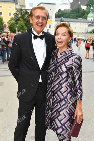 German Actress Monika Peitsch (r) and Husband Sven Hansen-hoechstaedt Arrive Prior to the Premiere of Thomas Ades' Opera 'The Exterminating Angel' During the Salzburg Festival in Salzburg Austria 28 July 2016 the Festival Runs From 22 July to 31 August Austria Salzburg