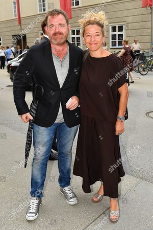 Austrian Actor Cornelius Obonya (l) and His Wife German Director Carolin Pienkos Arrive Prior to the Premiere of Thomas Ades' Opera 'The Exterminating Angel' During the Salzburg Festival in Salzburg Austria 28 July 2016 the Festival Runs From 22 July to 31 August Austria Salzburg
