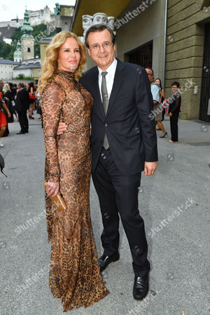Austrian Journalist and Manager Hans Mahr (r) and His Wife German Television Presenter Katja Burkard Arrive Prior to the Premiere of Thomas Ades' Opera 'The Exterminating Angel' During the Salzburg Festival in Salzburg Austria 28 July 2016 the Festival Runs From 22 July to 31 August Austria Salzburg
