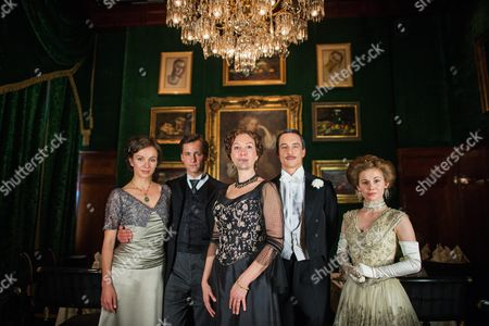 From (l-r): Belgian Actress Julia Koschitz As 'Martha Aderhold' Austrian Actor Florian Stetter As 'Maximilian Aderhold' Austrian Actress Ursula Strauss As 'Anna Sacher' Laurence Rupp As 'Hans Georg Von Traunstein'; Francesca Von Habsburg As 'Englische Diplomatin' and German Actress Josefine Preuss As 'Konstanze Von Traunstein' Pose on the Set During the Filming of the Historical Docudrama 'Das Sacher' at the Hotel Sacher Vienna in Vienna Austria 03 May 2016 the Film is Set in Original Locations in Vienna and Lower Austria Austria Screening the History of the Hotel Sacher Vienna One of the Top Viennese Hotels the Film is Scheduled to Premiere in Austrian Television at the End of 2016 Austria Vienna