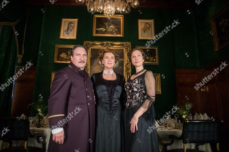 From (l-r) Austrian Actor Robert Palfrader As 'Portier Mayr' Ursula Strauss As 'Anna Sacher' and Francesca Von Habsburg As 'Englische Diplomatin' (c) Pose on the Set During the Filming of the Historical Docudrama 'Das Sacher' at the Hotel Sacher Vienna in Vienna Austria 03 May 2016 the Film is Set in Original Locations in Vienna and Lower Austria Austria Screening the History of the Hotel Sacher Vienna One of the Top Viennese Hotels the Film is Scheduled to Premiere in Austrian Television at the End of 2016 Austria Vienna