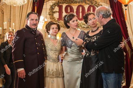 From (l-r): Actors Robert Palfrader As 'Portier Mayr' Josefine Preuss As 'Konstanze Von Traunstein' Julia Koschitz As 'Martha Aderhold' Ursula Strauss As 'Anna Sacher' and Austrian Director Robert Dornhelm Pose on the Set During the Filming of the Historical Docudrama 'Das Sacher' at the Hotel Sacher Vienna in Vienna Austria 03 May 2016 the Film is Set in Original Locations in Vienna and Lower Austria Austria Screening the History of the Hotel Sacher Vienna One of the Top Viennese Hotels the Film is Scheduled to Premiere in Austrian Television at the End of 2016 Austria Vienna