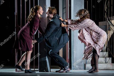 Italian Actress Gerti Drassl As 'Ursula' (l) German Actor Roman Schmelzer As 'Wladimir' (l) and German Actress Martina Stilp As 'Gilda' (r) Perform on Stage During the Dress Rehearsal of Oedoen Von Horvath's Play 'Niemand' (nobody) at Theatre in Der Josefstadt in Vienna Austria 30 August 2016 the Typescript of Austrian-hungarian Author Oedoen Von Horvath's Play 'Niemand' was Discovered in the Nineties and Will World Premiered on 01 September 2016 Austria Vienna