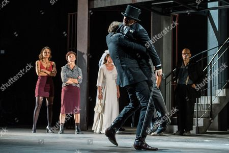 German Actor Roman Schmelzer As 'Wladimir' (front-l) and Austrian Actor Florian Teichtmeister As 'Fuerchtegott Lehmann' (front-r) Perform on Stage During the Dress Rehearsal of Oedoen Von Horvath's Play 'Niemand' (nobody) at Theatre in Der Josefstadt in Vienna Austria 30 August 2016 the Typescript of Austrian-hungarian Author Oedoen Von Horvath's Play 'Niemand' was Discovered in the Nineties and Will World Premiered on 01 September 2016 Austria Vienna