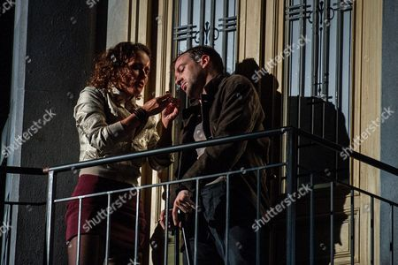 German Actress Martina Stilp As 'Gilda' (l) and Austrian Actor Florian Teichtmeister As 'Fuerchtegott Lehmann' (r) Perform on Stage During the Dress Rehearsal of Oedoen Von Horvath's Play 'Niemand' (nobody) at Theatre in Der Josefstadt in Vienna Austria 30 August 2016 the Typescript of Austrian-hungarian Author Oedoen Von Horvath's Play 'Niemand' was Discovered in the Nineties and Will World Premiered on 01 September 2016 Austria Vienna