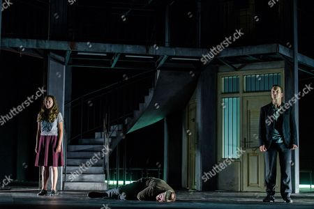 Austrian Actor Florian Teichtmeister As 'Fuerchtegott Lehmann' (c) Italian Actress Gerti Drassl As 'Ursula' (l) and German Actor Raphael Von Bargen As 'Fremder' (r) Perform on Stage During the Dress Rehearsal of Oedoen Von Horvath's Play 'Niemand' (nobody) at Theatre in Der Josefstadt in Vienna Austria 30 August 2016 the Typescript of Austrian-hungarian Author Oedoen Von Horvath's Play 'Niemand' was Discovered in the Nineties and Will World Premiered on 01 September 2016 Austria Vienna