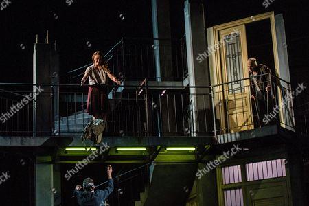 Austrian Actor Florian Teichtmeister As 'Fuerchtegott Lehmann' (r) Italian Actress Gerti Drassl As 'Ursula' (top-l) and German Actor Raphael Von Bargen As 'Fremder' (bottom-l) Perform on Stage During the Dress Rehearsal of Oedoen Von Horvath's Play 'Niemand' (nobody) at Theatre in Der Josefstadt in Vienna Austria 30 August 2016 the Typescript of Austrian-hungarian Author Oedoen Von Horvath's Play 'Niemand' was Discovered in the Nineties and Will World Premiered on 01 September 2016 Austria Vienna