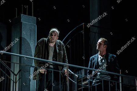 Austrian Actor Florian Teichtmeister As 'Fuerchtegott Lehmann' (l) and German Actor Raphael Von Bargen As 'Fremder' (r) Perform on Stage During the Dress Rehearsal of Oedoen Von Horvath's Play 'Niemand' (nobody) at Theatre in Der Josefstadt in Vienna Austria 30 August 2016 the Typescript of Austrian-hungarian Author Oedoen Von Horvath's Play 'Niemand' was Discovered in the Nineties and Will World Premiered on 01 September 2016 Austria Vienna
