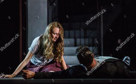 Italian Actress Gerti Drassl As 'Ursula' (l) and German Actor Raphael Von Bargen As 'Fremder' (r) Perform on Stage During the Dress Rehearsal of Oedoen Von Horvath's Play 'Niemand' (nobody) at Theatre in Der Josefstadt in Vienna Austria 30 August 2016 the Typescript of Austrian-hungarian Author Oedoen Von Horvath's Play 'Niemand' was Discovered in the Nineties and Will World Premiered on 01 September 2016 Austria Vienna