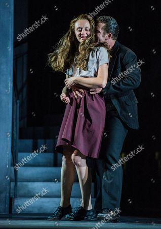Stock Photo of Italian Actress Gerti Drassl As 'Ursula' (l) and German Actor Raphael Von Bargen As 'Fremder' (r) Perform on Stage During the Dress Rehearsal of Oedoen Von Horvath's Play 'Niemand' (nobody) at Theatre in Der Josefstadt in Vienna Austria 30 August 2016 the Typescript of Austrian-hungarian Author Oedoen Von Horvath's Play 'Niemand' was Discovered in the Nineties and Will World Premiered on 01 September 2016 Austria Vienna