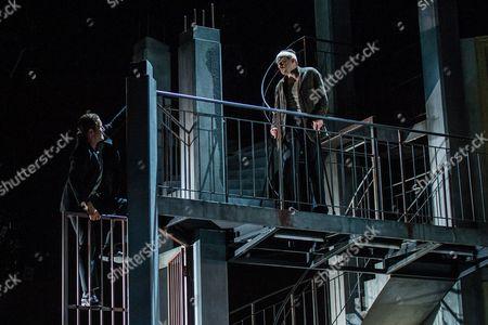 Austrian Actor Florian Teichtmeister As 'Fuerchtegott Lehmann' (r) and German Actor Raphael Von Bargen As 'Fremder' (l) Perform on Stage During the Dress Rehearsal of Oedoen Von Horvath's Play 'Niemand' (nobody) at Theatre in Der Josefstadt in Vienna Austria 30 August 2016 the Typescript of Austrian-hungarian Author Oedoen Von Horvath's Play 'Niemand' was Discovered in the Nineties and Will World Premiered on 01 September 2016 Austria Vienna