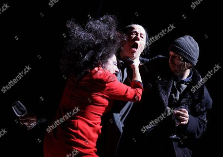 (l-r) German Actors Maria Happel As 'Die Wortfuehrerin' Martin Schwab As 'Der Wortfuehrer' and Christopher Nell As 'Ich' Perform on Stage During the Dress Rehearsal of Peter Handke's Play 'Die Unschuldigen Ich Und Die Unbekannte Am Rand Der Landstrasse' (the Innocent Me and the Unknown Woman by the Side of the Road) at Burgtheater in Vienna Austria 26 February 2016 the Piece Directed by Claus Peymann is a Co-production of Burgtheater Wien and Berliner Ensemble and Will First Premiere on 27 February 2016 Austria Vienna