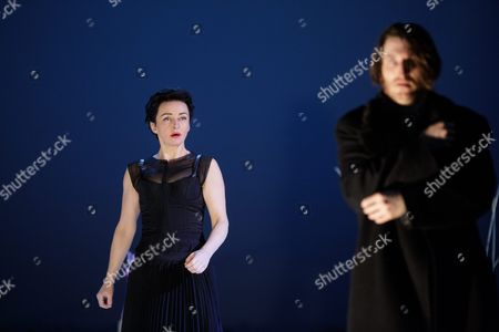 Austrian Actress Regina Fritsch (l) As 'Die Unbekannte' and German Actor Christopher Nell As 'Ich' Perform on Stage During the Dress Rehearsal of Peter Handke's Play 'Die Unschuldigen Ich Und Die Unbekannte Am Rand Der Landstrasse' (the Innocent Me and the Unknown Woman by the Side of the Road) at Burgtheater in Vienna Austria 26 February 2016 the Piece Directed by Claus Peymann is a Co-production of Burgtheater Wien and Berliner Ensemble and Will First Premiere on 27 February 2016 Austria Vienna