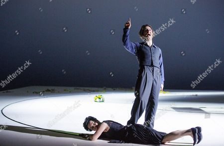 Austrian Actress Regina Fritsch (bottom) As 'Die Unbekannte' and German Actor Christopher Nell As 'Ich' Perform on Stage During the Dress Rehearsal of Peter Handke's Play 'Die Unschuldigen Ich Und Die Unbekannte Am Rand Der Landstrasse' (the Innocent Me and the Unknown Woman by the Side of the Road) at Burgtheater in Vienna Austria 26 February 2016 the Piece Directed by Claus Peymann is a Co-production of Burgtheater Wien and Berliner Ensemble and Will First Premiere on 27 February 2016 Austria Vienna