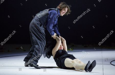 Stock Picture of Austrian Actress Regina Fritsch (bottom) As 'Die Unbekannte' and German Actor Christopher Nell As 'Ich' Perform on Stage During the Dress Rehearsal of Peter Handke's Play 'Die Unschuldigen Ich Und Die Unbekannte Am Rand Der Landstrasse' (the Innocent Me and the Unknown Woman by the Side of the Road) at Burgtheater in Vienna Austria 26 February 2016 the Piece Directed by Claus Peymann is a Co-production of Burgtheater Wien and Berliner Ensemble and Will First Premiere on 27 February 2016 Austria Vienna