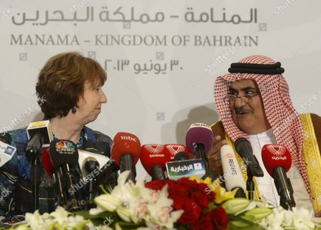 Catherine Ashton Eu High Representative of the Union For Foreign Affairs and Security Policy with Sheikh Khalid Bin Ahmed Bin Mohammed Al-khalifa Bahrain Foreign Minister Speaking During a Joint Press Conference Following a Joint Eu-gulf Cooperation Council (gcc) and Ministerial Meeting in the Bahraini Capital Manama 30 June 2013 Foreign Ministers of the Six Gulf States and the European Union (eu) Meeting in the Bahraini Capital Manama on 30 June 2013 Discussed Iran Nuclear Programme the Situation in Syria and Rising Threat of Sectarian Tension in Lebanon and Iraq But Failed Once More to Finalize a Free Trade Agreement (fta) That Has Been on the Table Between the Two Since 1988 Bahrain Manama