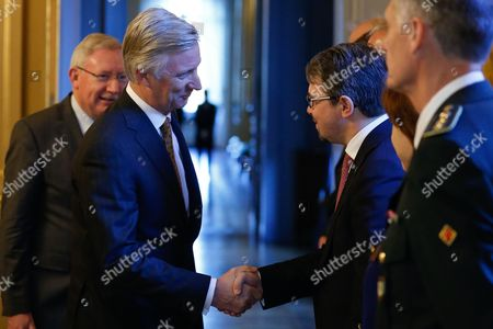 King Philippe of Belgium (l) Shakes Hand with Federal Prosecutor Frederic Van Leeuw Prior to a Round Table on Security and Anti-terrorism at the Royal Palace in Brussels Belgium 08 December 2015 Belgium Brussels