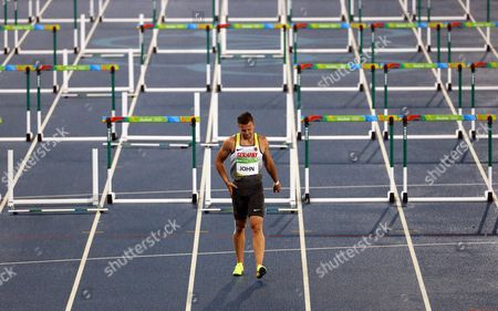 Alexander John of Germany Reacts During the Men's 110m Hurdles Heats of the Rio 2016 Olympic Games Athletics Track and Field Events at the Olympic Stadium in Rio De Janeiro Brazil 15 August 2016 Brazil Rio De Janeiro