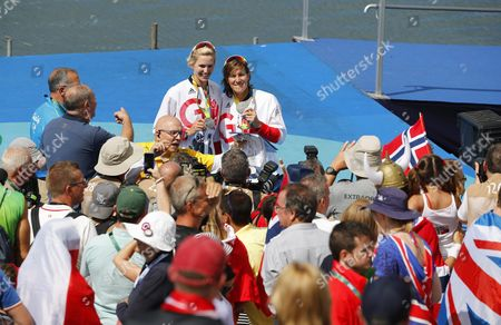 Victoria Thornley (l) and Katherine Grainger (r) of Britain Pose with Their Silver Medals on the Podium of the Women's Double Sculls Final Race of the Rio 2016 Olympic Games Rowing Events at the Lagoa Rodrigo De Freitas in Rio De Janeiro Brazil 11 August 2016 Brazil Rio De Janeiro