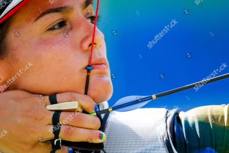 Stock Picture of Carolina Aguirre of Columbia in Action Against India During the Women's Team Competition of the Rio 2016 Olympic Games Archery Events at the Sambodromo in Rio De Janeiro Brazil 07 August 2016 Brazil Rio De Janeiro