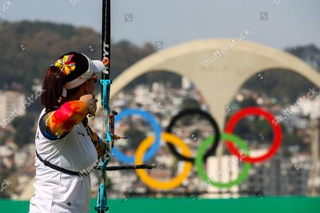 Natalia Sanchez of Columbia in Action During Women's Team Competition of the Rio 2016 Olympic Games Archery Events at the Sambodromo in Rio De Janeiro Brazil 07 August 2016 Brazil Rio De Janeiro
