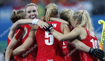 Great Britain's Crista Cullen (5 Facing Away) Celebrates Her Goal Against the Netherlands with Teammates During the Rio 2016 Olympic Games Women's Field Hockey Gold Medal Match at the Olympic Hockey Centre in Rio De Janeiro Brazil 19 August 2016 Brazil Rio De Janeiro