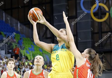 Elizabeth Cambage of Australia (c) Goes to the Basaket During the Women's Preliminary Round Group a Basketball Game Betwee Australia and Belarus of the Rio 2016 Olympic Games at the Youth Arena in Deodoro Rio De Janeiro Brazil 13 August 2016 Brazil Rio De Janeiro
