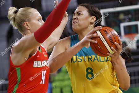 Yelena Leuchanka of Belarus (l) and Elizabeth Cambage of Australia (r) Compete For the Ball During the Women's Preliminary Round Group a Basketball Game Betwee Australia and Belarus of the Rio 2016 Olympic Games at the Youth Arena in Deodoro Rio De Janeiro Brazil 13 August 2016 Brazil Rio De Janeiro