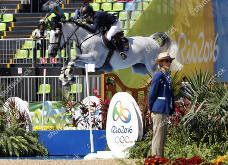 Malin Baryard-johnsson of Sweden Riding Cue Channa Performs During the Jumping Individual 2nd Qualifier Competition of the Rio 2016 Olympic Games Equestrian Events at the Olympic Equestrian Centre in Rio De Janeiro Brazil 16 August 2016 Brazil Rio De Janeiro