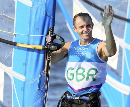 Nick Dempsey of Britain Celebrates After Winning the Silver Medal in the Men's Rs:x Class Race of the Rio 2016 Olympic Games Sailing Events in Rio De Janeiro Brazil 14 August 2016 Brazil Rio De Janeiro
