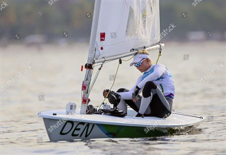 Anne-marie Rindom of Denmark Waits For the Wind Ahead of the Postponed Women's Laser Radial Medal Race of the Rio 2016 Olympic Games Sailing Events at Guanabara Bay in Rio De Janeiro Brazil 15 August 2016 After a Windless Morning Strong Breeze in the Afternoon Forced the Cancellation of All Races Brazil Rio De Janeiro