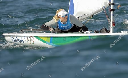 Anne-marie Rindom of Denmark Sails During the Women's Laser Radial Race of the Rio 2016 Olympic Games Sailing Events in Guanabara Bay in Rio De Janeiro Brazil 12 August 2016 Brazil Rio De Janeiro