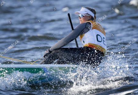 Danish Laser Radial Sailor Anne-marie Rindom During Olympic Race in Guanabara Bay in Rio De Janeiro Brazil 13 August 2016 Brazil Rio De Janeiro
