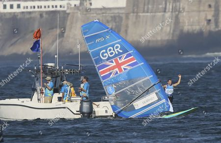 British Rsx Windsurfer Nick Dempsey Reacts After Winning the Silver Medal During the Rio 2016 Olympic Games Sailing Events in Guanabara Bay Rio De Janeiro Brazil 14 August 2016 Brazil Rio De Janeiro