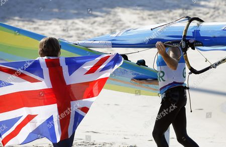 Nick Dempsey (r) of Britain Reacts After Winning the Silver Medal in the Men's Rs:x Class Race of the Rio 2016 Olympic Games Sailing Events in Rio De Janeiro Brazil 14 August 2016 Brazil Rio De Janeiro