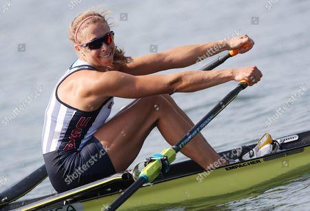 Genevra Stone of the Us in Action During the Women's Single Sculls Heats of the Rio 2016 Olympic Games Rowing Events at the Lagoa Rodrigo De Freitas in Rio De Janeiro Brazil 06 August 2016 Brazil Rio De Janeiro